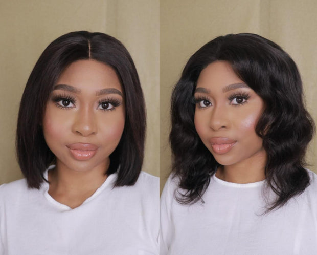 "Brazilian 4x4 Lace Wig - Straight 10"" and Body Wave 12"" - R2750"