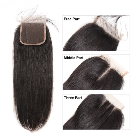 BRAZILIAN 100% REMY HUMAN HAIR 3 WAY PARTING CLOSURE - STRAIGHT