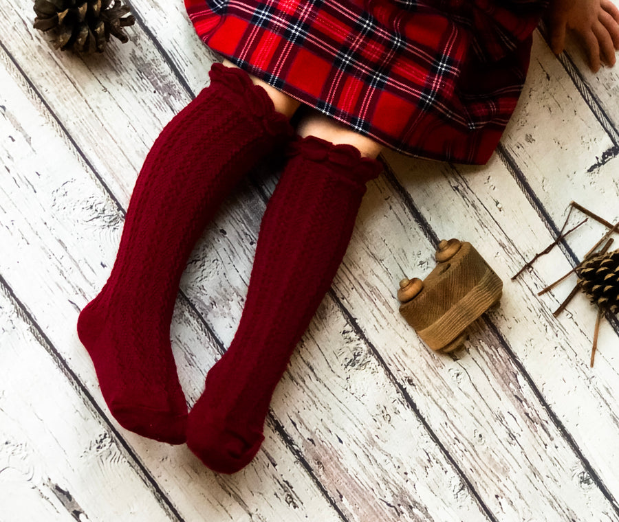 Childrens Cable Knit Ruffle Top Knee High Socks - Apple Cinnamon