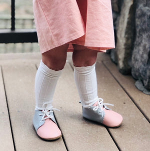 Childrens Cable Knit Scalloped Knee High Socks - Cottage White