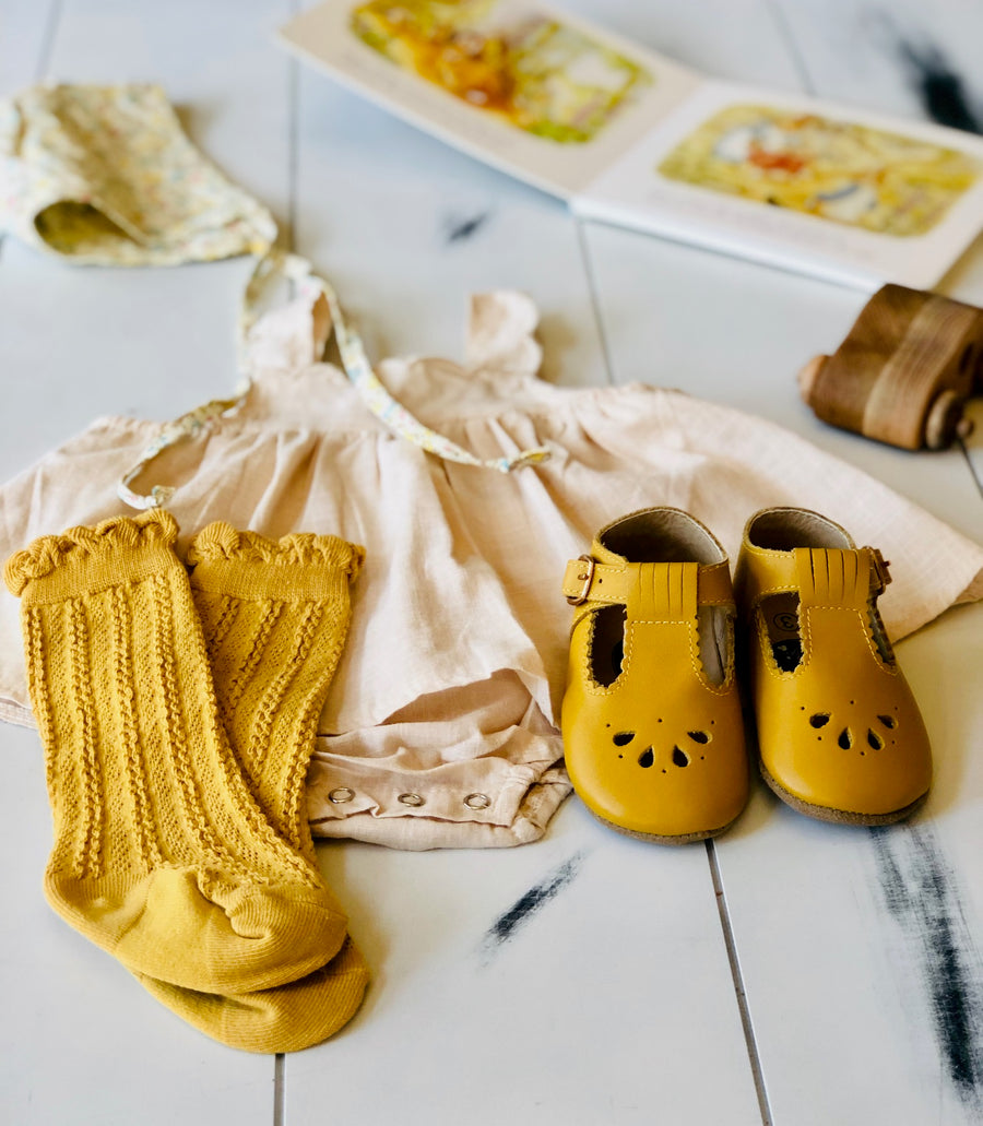 Childrens Ruffle Top Cable Knit Knee High Socks - Butterscotch