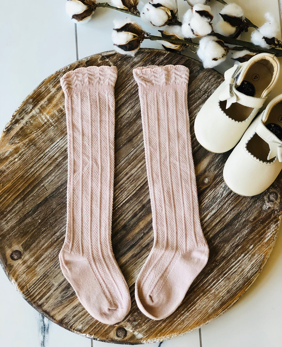 Childrens Cable Knit Scalloped Knee High Socks - Dusty Rose