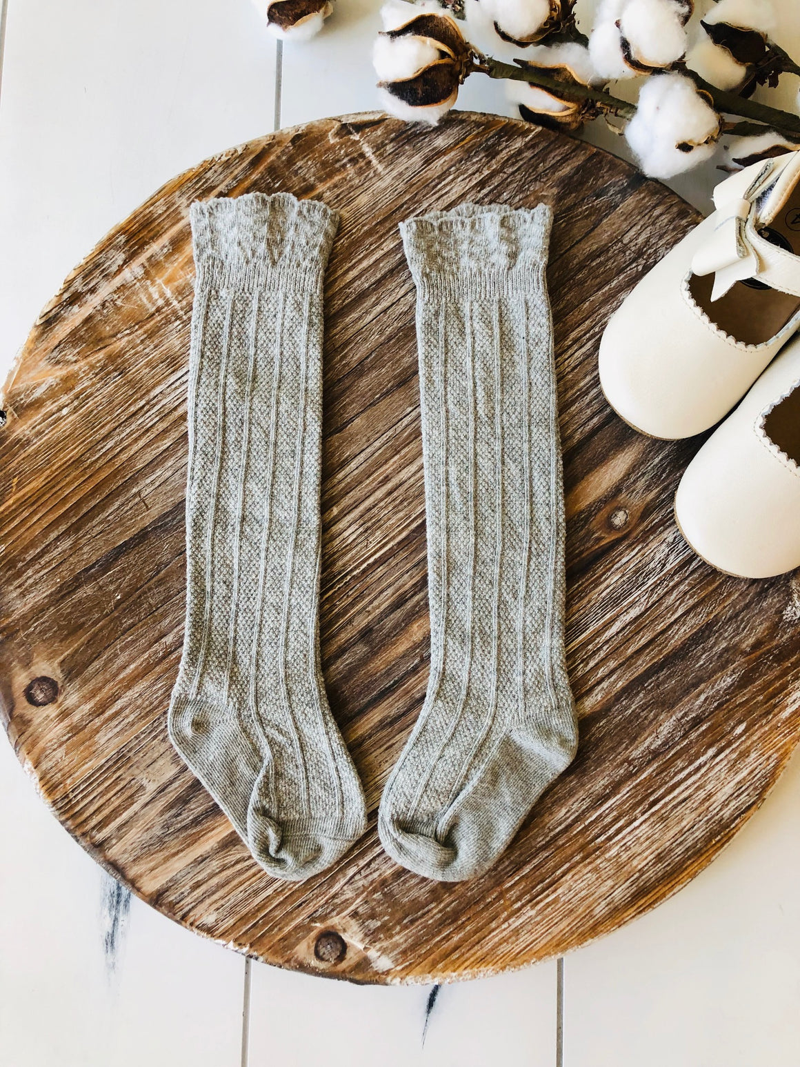 Childrens Cable Knit Scalloped Knee High Socks - Hampton Grey