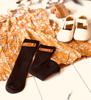 Penelope Knee High Socks - Urban Black With Chestnut Brown Velvet Bow