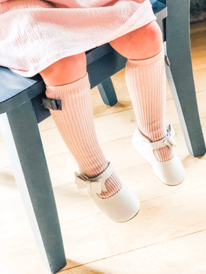 Penelope Knee High Socks - Dusty Rose Sock With Vintage Taupe Velvet Bow