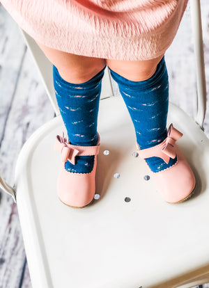 Childrens Knit Scalloped Knee High Socks - Sweet Pea Indigo Blue