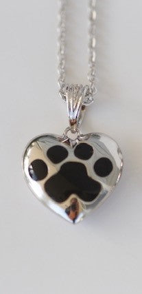 Heart Shaped Paw Memorial Urn Pendant