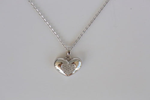 Heart Shaped Memorial Urn Pendant With Crystals