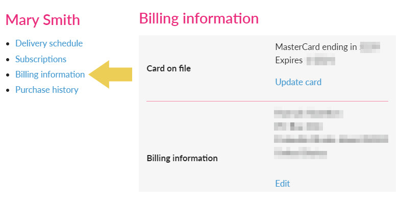 how to edit billing information