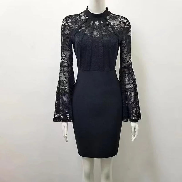 Stunning Knit dress with lace bell sleeves