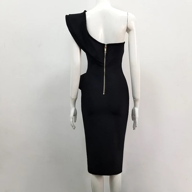 One shoulder crepe dress