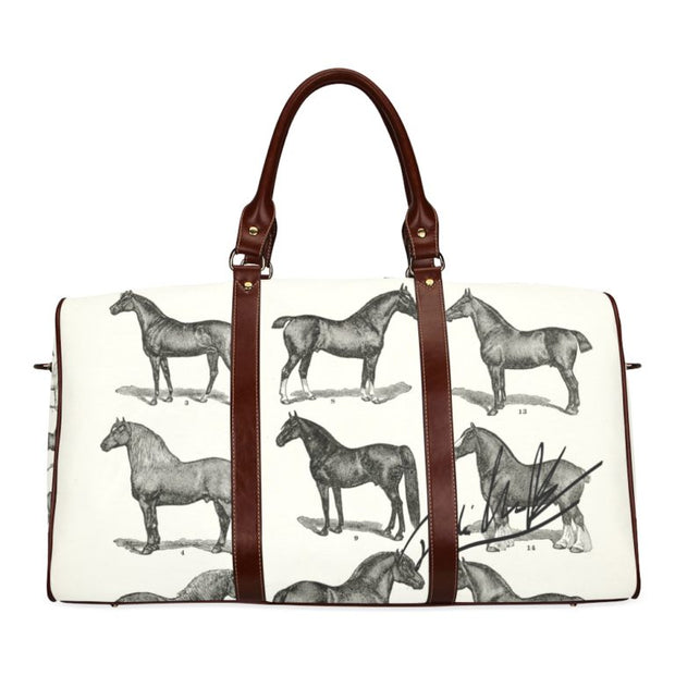 Vintage Horse Print Travel Bag