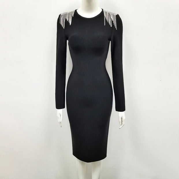 Long sleeve  Knit dress with shoulder treatment