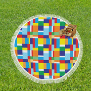 Color Block Circular Beach Blanket/Shawl