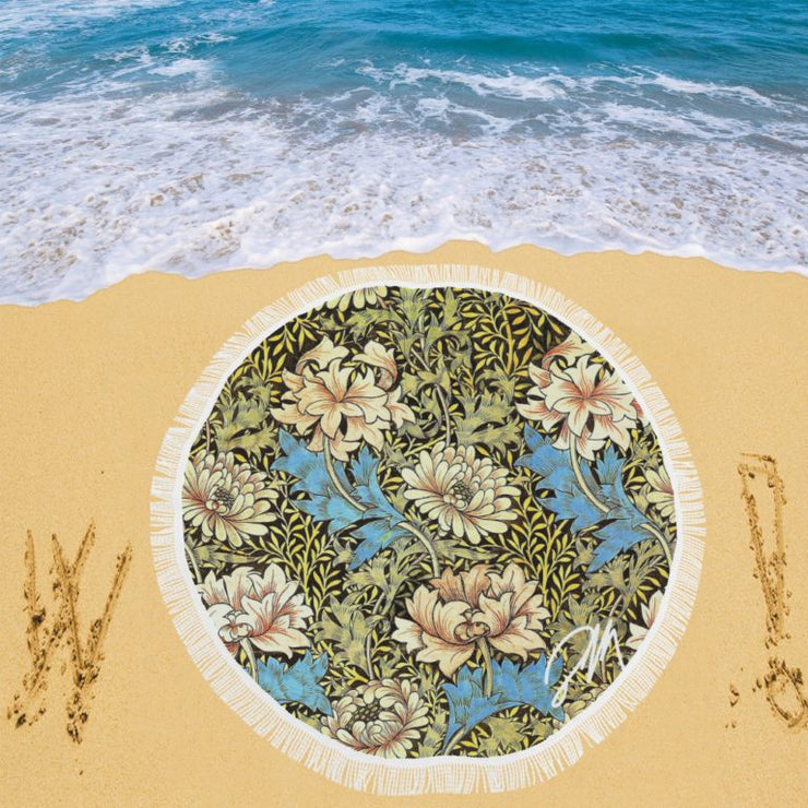 Retro Flowers Circular Beach Blanket/Shawl