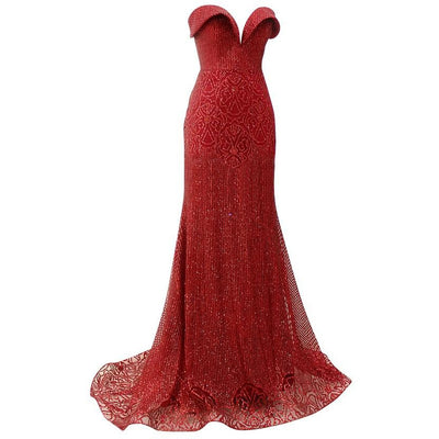 Strapless Brocade gown with detachable trane