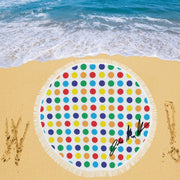 Polka Dot Circular Beach Blanket/Shawl