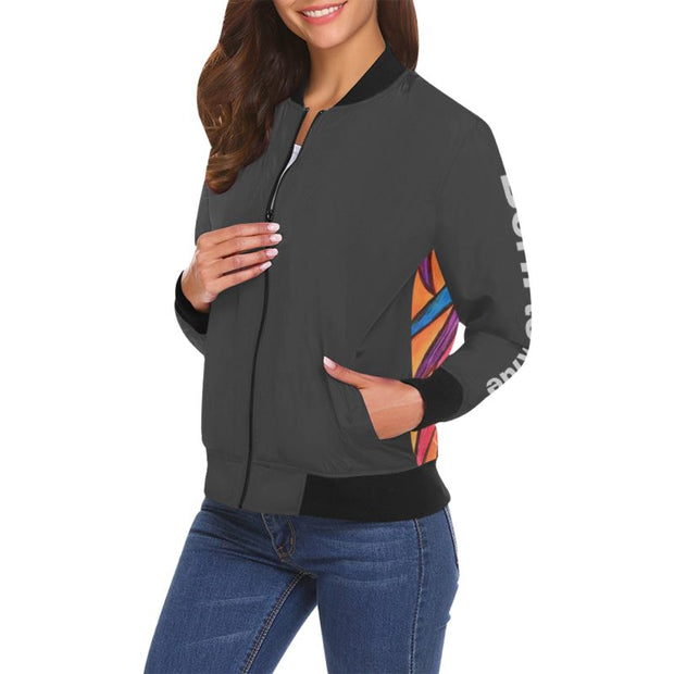 Born To Ride Bomber Jacket Charcoal