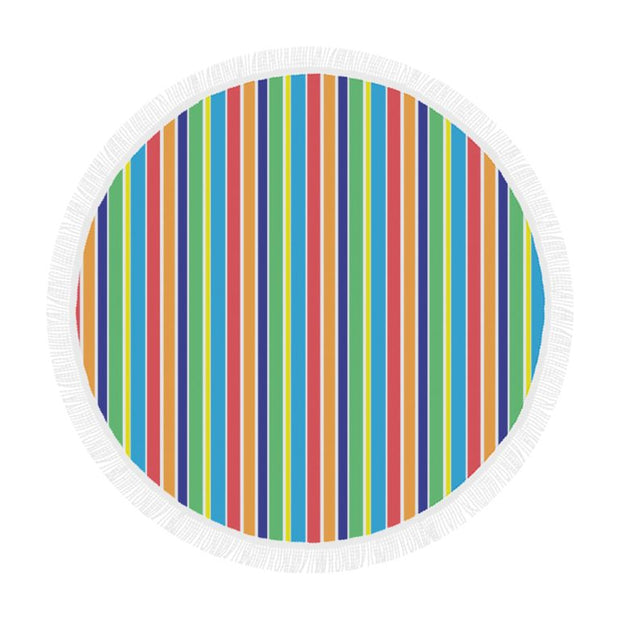 Striped Circular Beach Blanket/Shawl
