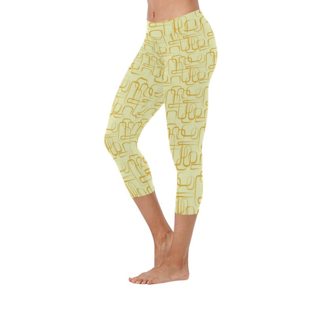 Modern Art Low Rise Capri Leggings ( Flatlock Stitch)