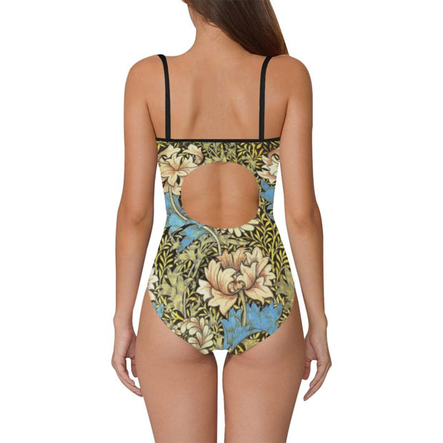 Swimsuit With Solid Front Retro Print Flowers Back