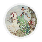 Horse Illustration Circular Beach Blanket/Shawl