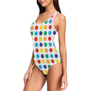 One Piece Vest Style Swimsuit Polkadots
