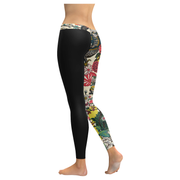 Japanese Flowers Low Rise Leggings