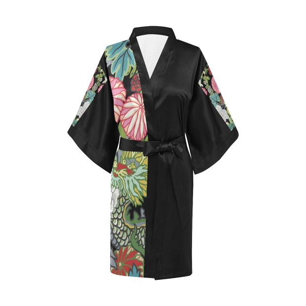Asian Print Satin Robe