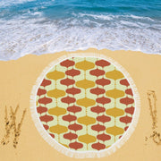 Retro Print Circular Beach Blanket/Shawl