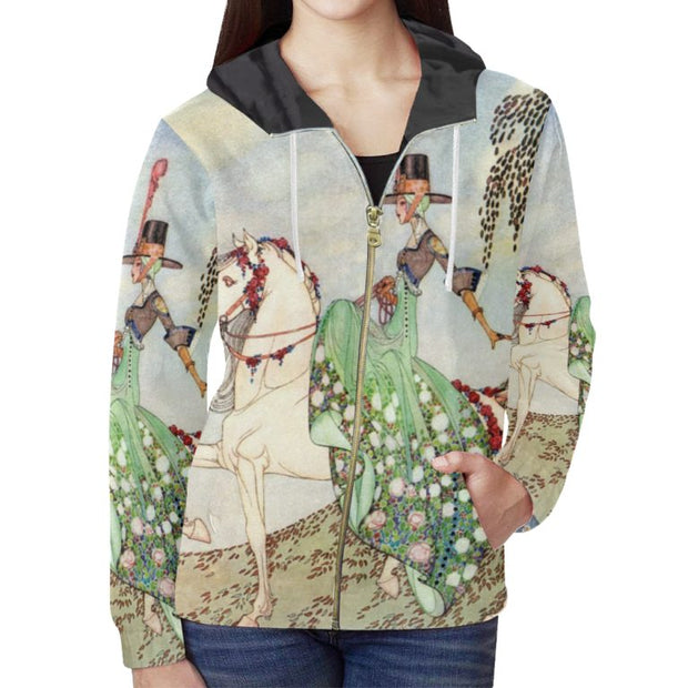 Original Horse Illustration Zip Hoodie