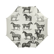 Vintage Horse Print Semi- Automatic Foldable Umbrella- Signed