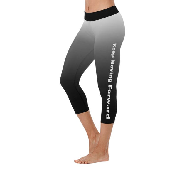 """Keep Moving Forward"" Low Rise Capri Leggings ( Flatlock Stitch)"