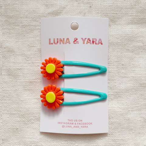 NIMI BARRETTE Aqua/Orange