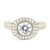 Oval Double Halo Bezel Engagement Ring