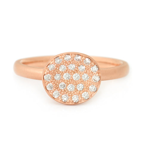 Mini Petal Paved Diamond Ring