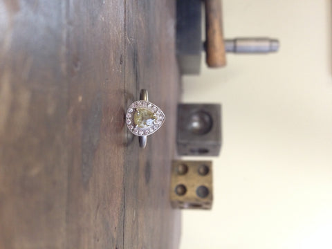 One of a Kind Golden Pear Rosecut Diamond Ring