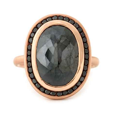 One of a Kind Black Oval Rosecut Diamond Ring