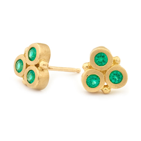 Classic Trinity Emerald Earrings