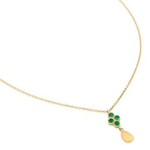 Fresh Gold Pebble Emerald Necklace