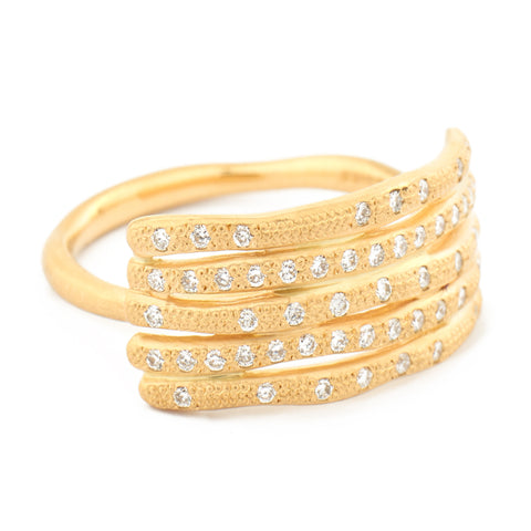 Five Stacked Diamond Bamboo Ring