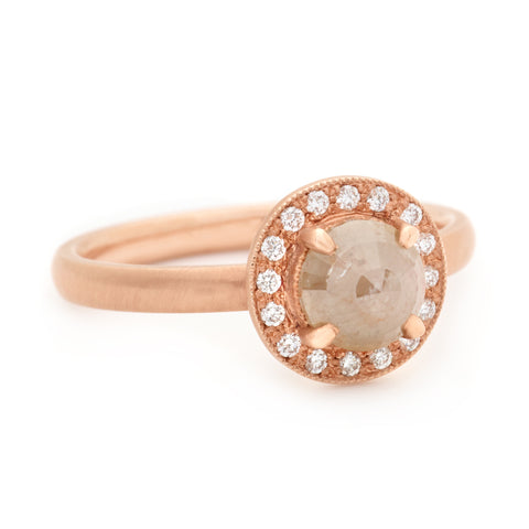 One of a Kind Beige Rosecut Diamond Ring