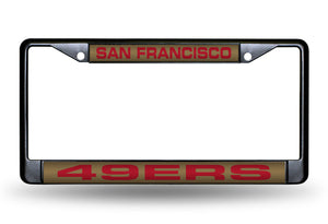 SAN FRANCISCO 49ERS BLACK LASER LICENSE PLATE FRAME