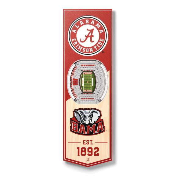 ALABAMA CRIMSON TIDE 3D STADIUM VIEW WOOD BANNER