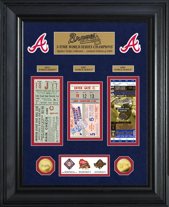 ATLANTA BRAVES WORLD SEREIS DELUXE GOLD COIN & TICKET COLLECTION
