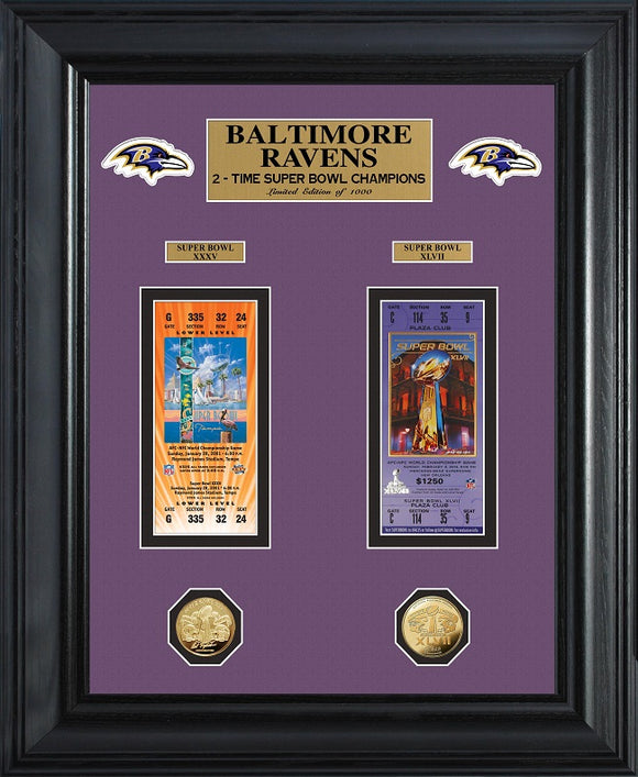 BALTIMORE RAVENS SUPER BOWL CHAMPIONS DELUXE GOLD COIN TICKET COLLECTION