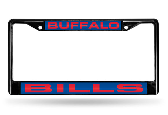 BUFFALO BILLS BLACK LASER LICENSE PLATE FRAME