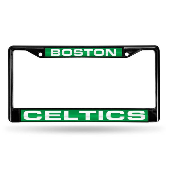 BOSTON CELTICS BLACK LASER LICENSE FRAME