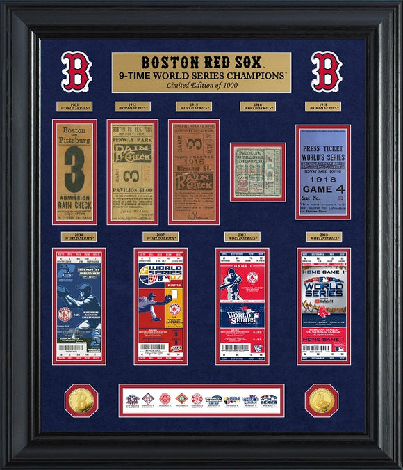 BOSTON RED SOX WORLD SERIES DELUXE GOLD COIN & TICKET COLLECTION