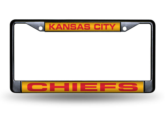 KANSAS CITY CHIEFS BLACK LASER LICENSE PLATE FRAME